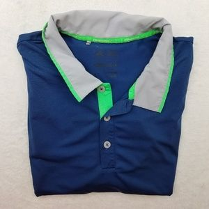 Adidas Climalite Golf Blue Neon Green Polo Large